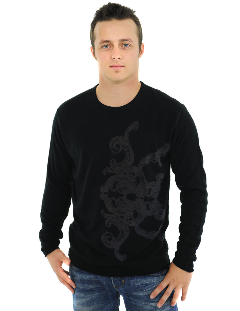 RAW7 Men's 100% Acrylic Crewneck Sweater Knight Design - Black