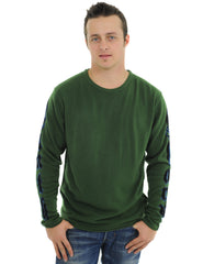 RAW7 Men's 100% Acrylic Crewneck Sweater Panther Design - Green
