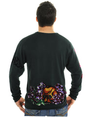 RAW7 Men's 100% Acrylic Crewneck Sweater Skull Flower Design - Charcoal.