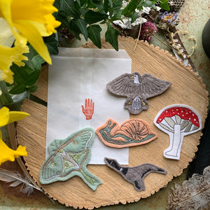 Embroidered Wool Luna Moth Patch