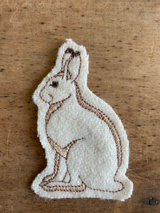 Embroidered Wool Snowshoe Hare Patch, Hare Patch, Rabbit Patch