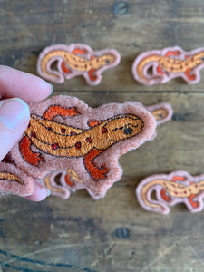 Embroidered Wool Newt Patch, Salamander Patch