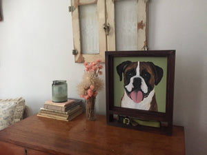 Memorial Dog Portrait and Shadowbox Frame