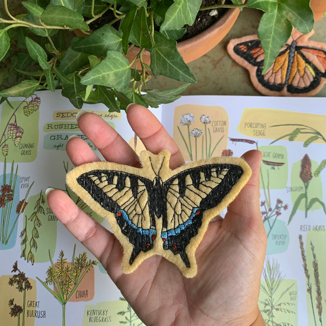 Embroidered Wool Tiger Swallowtail Patch