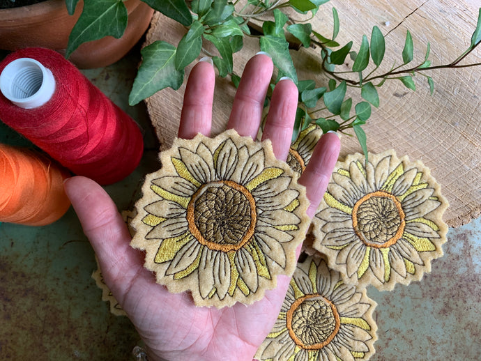 Embroidered Wool Sunflower Patch