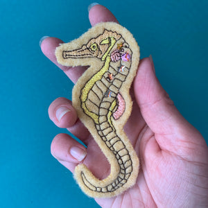 Embroidered Wool Seahorse Patch