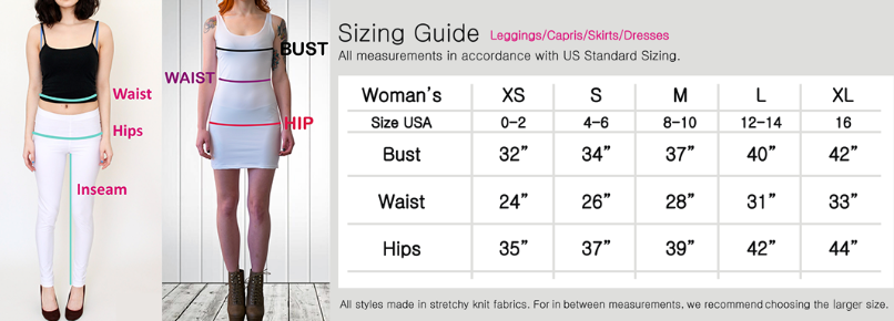 Sizing chart for dresses and leggings