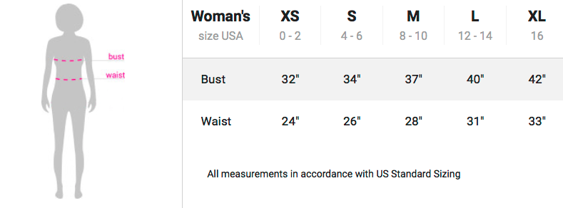 Sizing chart for tank tops and athletic crop tops