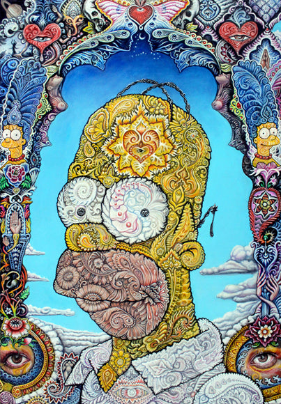 """Homer"" Blotter Art  - Special Bicycle Day Edition - Full Image Signed and Numbered"