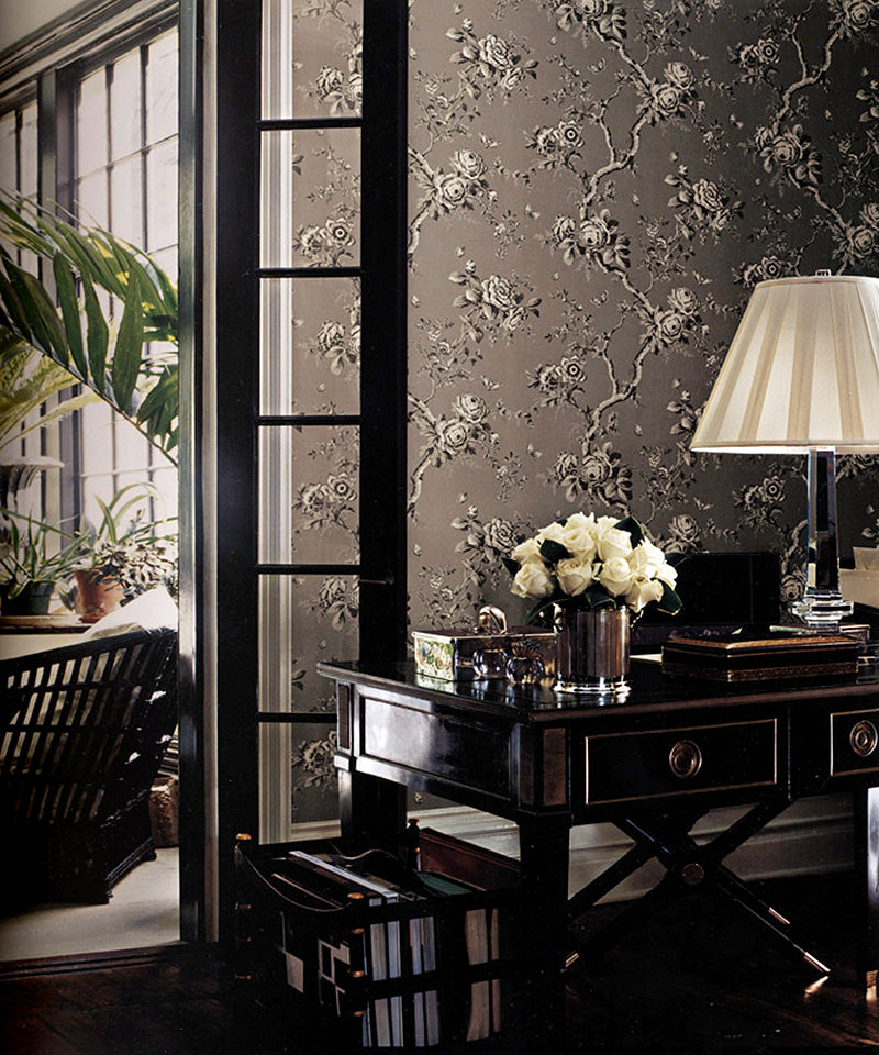 Ashfield Floral Gun Metal PRL027/04 Wallpaper
