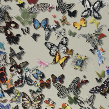 Butterfly Parade Daim Colorful Greige FCL025/02 Fabric