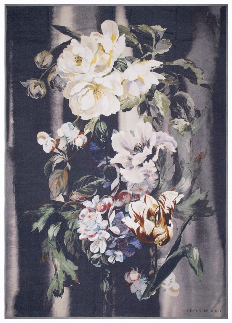 Delft Flower Noir Throw