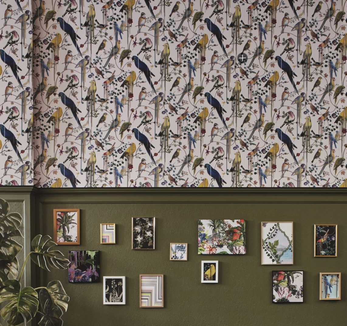 Birds Sinfonia Argent PCL7017/03 Wallpaper