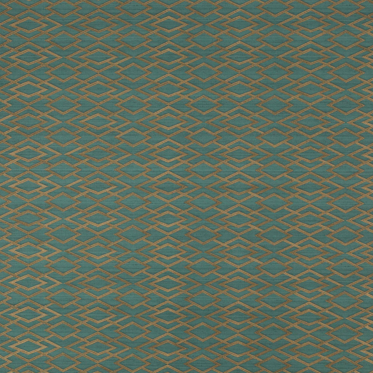 Geometric Silk Teal Wallpaper