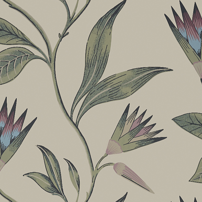 Cleo Vine Plum & Blue AT9617 Wallpaper