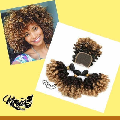Formule Bouncy Curly Remy 1B/4/27 & 1B/4/30 ( 3 Paquets + Closure ) - KraïSS, Tissage, extensions et perruques naturelles