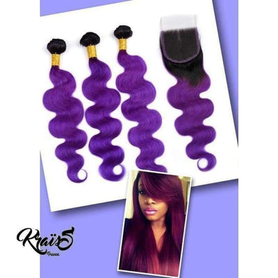 Formule Brésilienne T1/Violet  Body Wave ( 3 paquets + 1 closure ) Collection FLASHY FASHION - KraïSS, Perruques et tissages naturels