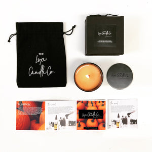 Pumpkin scented candles in box with lid and pouch | The Luxe Candle Co.