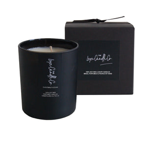Black Christmas Pudding scented soy wax candle | by The Luxe Candle Co