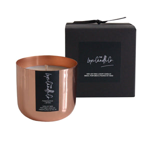 Copper Frankincense and Myrrh scented soy wax candle | by The Luxe Candle Co