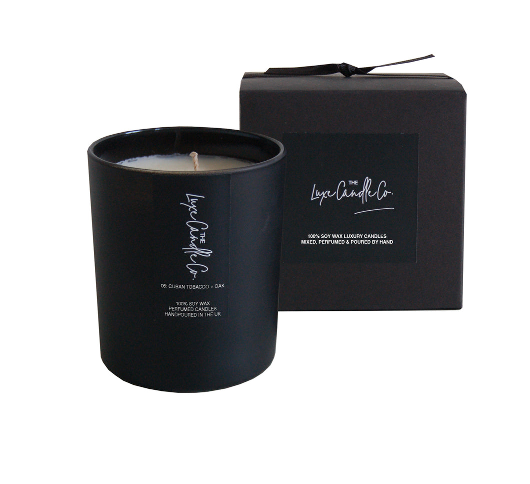 SCENTED CANDLE . TOBACCO OAK + VANILLA BEAN . BLACK
