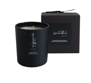 Luxury soy wax candle with coconut scent fragrance in black glass jar