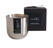 Large lavender scented candle in metallic silver pot fragranced with French Lavender