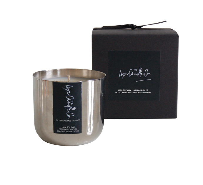 SCENTED CANDLE . LEMONGRASS + GINGER . SILVER