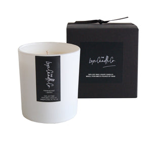 White Frankincense and Myrrh scented soy wax candle | by The Luxe Candle Co