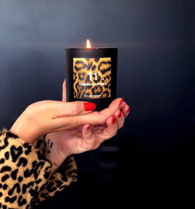 Leopard candle hand poured in Saddleworth by The Luxe Candle Co.
