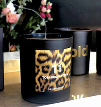 Black and leopard print interiors luxury soy candle