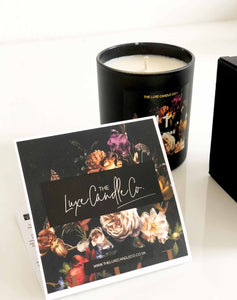 Victoriana inspired candle with blooms florals deep wallpaper prints
