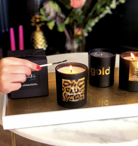 Luxury soy wax candles for her in black and leopard print stylish