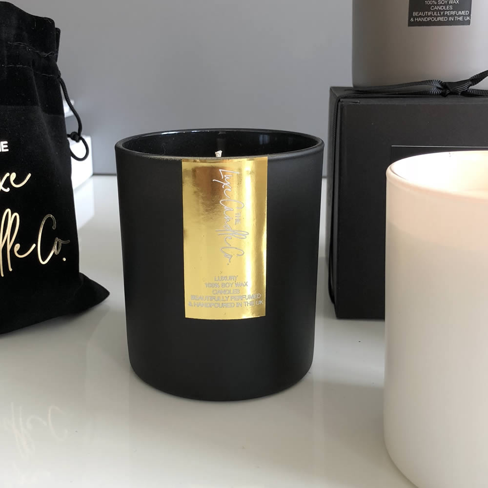 black and gold candle interiors accessory from the luxe candle co