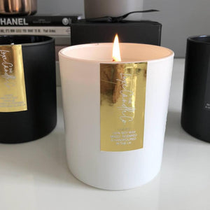 Glitz and glam metallic gold foil soy wax luxury candles in beautiful fragrances