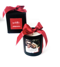 Personalised photo candle valentines gift in black soy wax with big red satin bow
