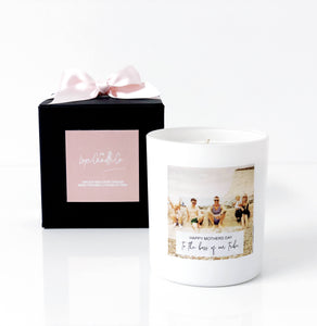White and pink soy wax candle personalised with printed picture of mum mother mummy wife for mothers day