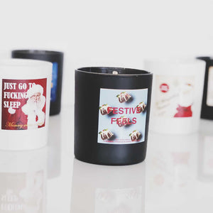 CHRISTMAS SOY WAX SCENTED CANDLE WITH VINTAGE STYLE PRINT
