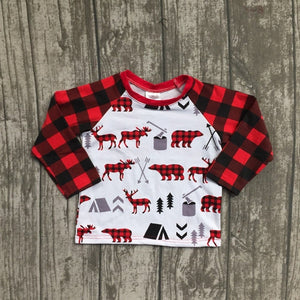 boys plaid christmas moose and reindeer shirt