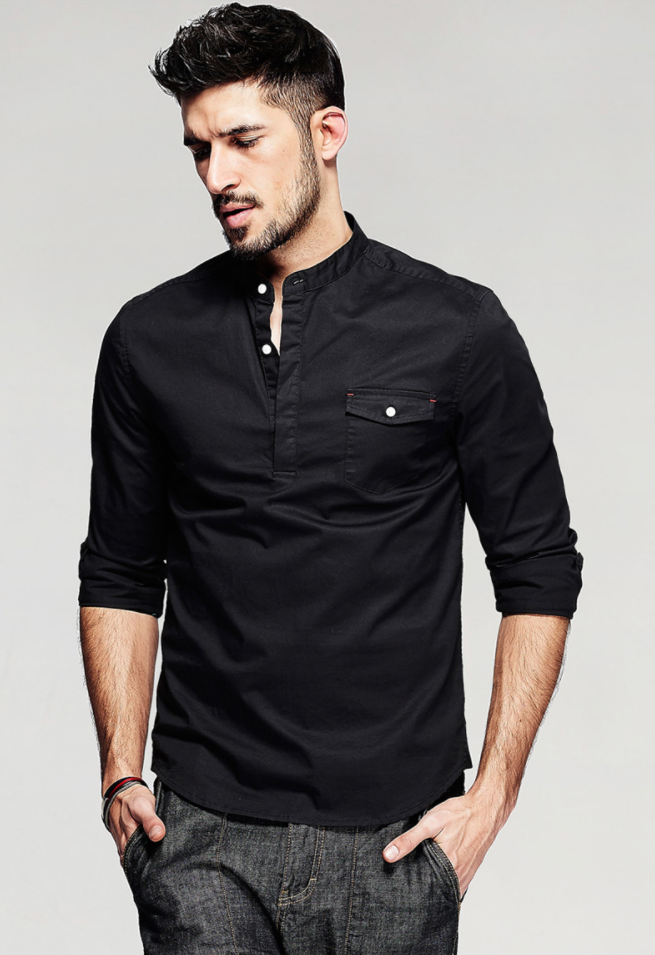 Cotton Black Slim Shirt