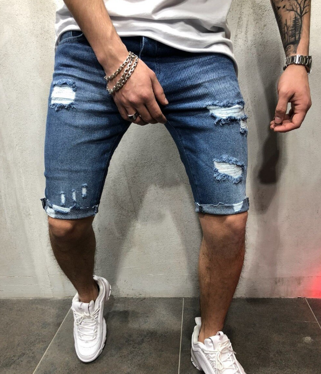 Slim Ripped Shorts