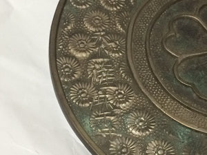Japanese Antique Bronze Metal Mirror Hosokawa clan with Wood Case