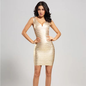 'Athena' Metallic Gold Cross Bust Bandage Dress