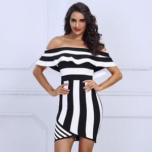 Striped Strapless Ruffles Short Sleeve Bandage Dress