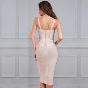 Sexy Celebrity Backless Bandage Dress - Nude