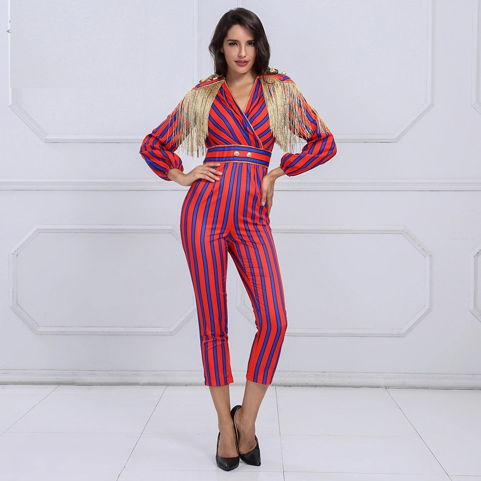 Long Sleeve Red Blue Striped Tassel Jumpsuit