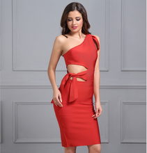 One shoulder Tassel Bandage Dress - Red