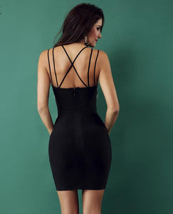 Spaghetti Strap V-Neck Backless Celebrity Dress