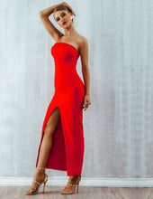 Red Strapless Bandage Party Dress