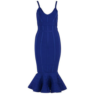 Spaghetti Strap Mermaid Bandage Dress - Blue
